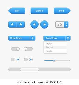 Blue Light User Interface Controls. Web Elements. Website, Software UI: Buttons, Switchers, Slider, Arrows, Drop-down, Navigation Bar, Menu, Check Box, Radio, Scroller, Input Search, Progress Bar