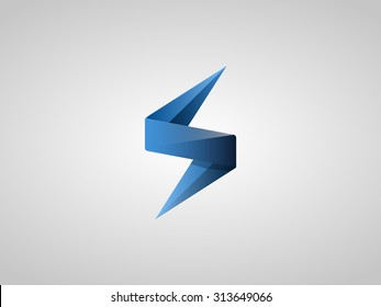 Blue Lighting Bolt Flash. Logo Design Vector Element. Fast Quick Rapid Icon Concept Symbol. Vector Illustration