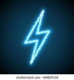 Blue Lighting Bolt Sign Of Electric Discharge