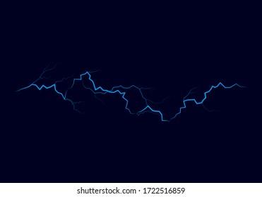 Blue lightning flash bolt. Bright light effects. Thunderbolt on dark background. Vector