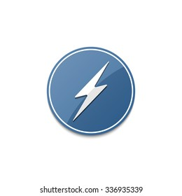 Blue lightning icon with shadow