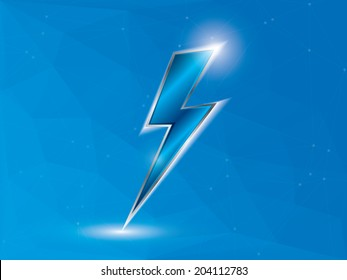 Blue lightning on polygon background