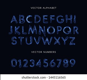 Blue lightning style letters and numbers set. Unusual plasma font, electricity lines alphabet, magic abc. Vector typeset.