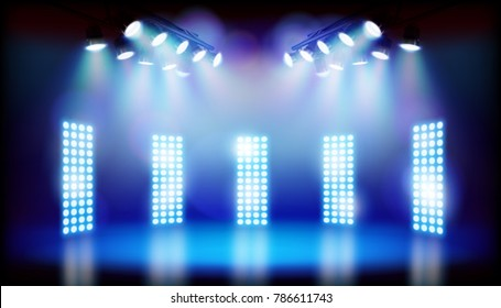 Blue lights on the stage. Vector illustration.