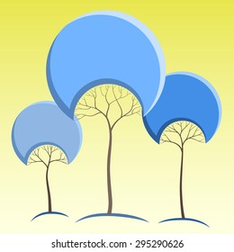 Blue like round crown tree abstract stickers