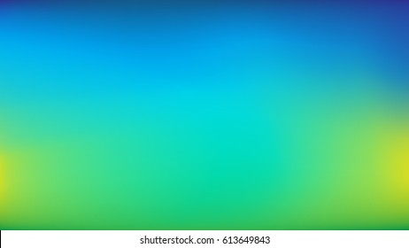 Blue to Lime Green Blurred Vector Background. Navy, Blue, Turquoise, Lime, Green Gradient Mesh. Trendy Out-of-focus Effect. Dramatic Saturated Colors. HD format Proportions. Horizontal Layout.