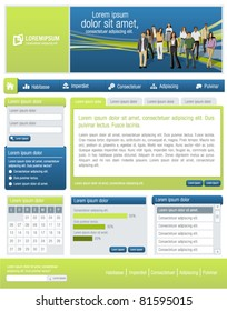 Blue and lime green business website Template