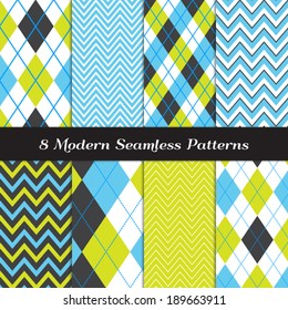 Blue, Lime Green, Graphite Black and White Chevron and Argyle Seamless Patterns. Golf Style Backgrounds. Pattern Swatches made with Global Colors.