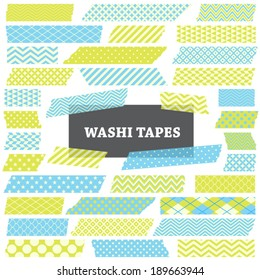 Blue and Lime Green Washi Tape Strips with Torn Edges and Different Patterns. Semitransparent. Perfect as Photo Frame Border, Clip Art or Scrapbook Embellishment. Global colors used.