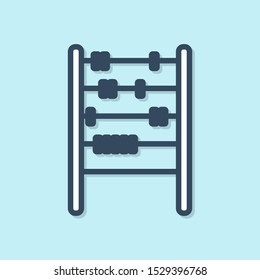 Blue line Abacus icon isolated on blue background. Traditional counting frame. Education sign. Mathematics school.  Vector Illustration