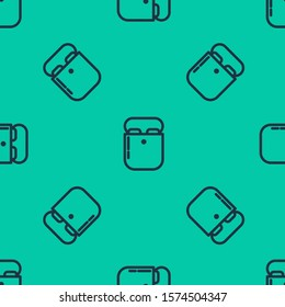 Blue line Air headphones in box icon icon isolated seamless pattern on green background. Holder wireless in case earphones garniture electronic gadget.  Vector Illustration