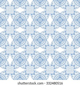 blue line asian mosaic seamless pattern, white background