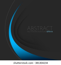 Blue line background vector with black overlap paper layer on black space for text and message design