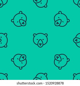 Blue line Bear head icon isolated seamless pattern on green background.  Vector Illustration