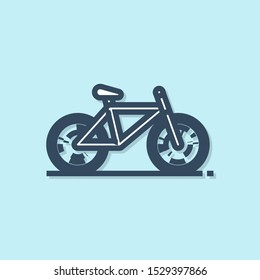 Blue line Bicycle icon isolated on blue background. Bike race. Extreme sport. Sport equipment.  Vector Illustration