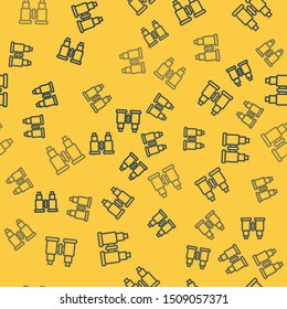 Blue line Binoculars icon isolated seamless pattern on yellow background. Find software sign. Spy equipment symbol.  Vector Illustration