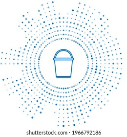 Blue line Bucket icon isolated on white background. Abstract circle random dots. Vector
