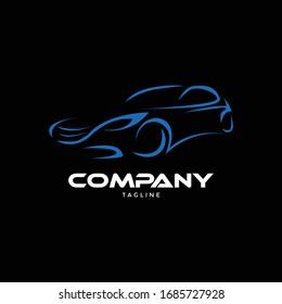 Blue Line Car Automotive Race Transport Automobile Service Garage Motor Speed Vehicle Logo Concept Template