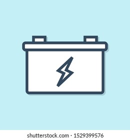 Blue line Car battery icon isolated on blue background. Accumulator battery energy power and electricity accumulator battery.  Vector Illustration