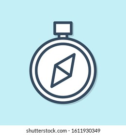 Blue line Compass icon isolated on blue background. Windrose navigation symbol. Wind rose sign.  Vector Illustration