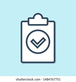 Blue line Completed task icon isolated on blue background. Compliance inspection approved. Checklist sign. Certified document symbol.  Vector Illustration