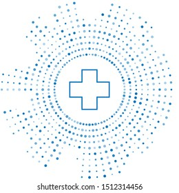 Blue line Cross hospital medical icon isolated on white background. First aid. Diagnostics symbol. Medicine and pharmacy sign. Abstract circle random dots. Vector Illustration