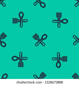 Blue line Crossed fork and spoon icon isolated seamless pattern on green background. Cooking utensil. Cutlery sign.  Vector Illustration