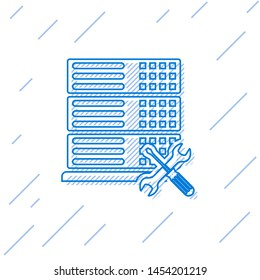 Blue line Database server with screwdriver and wrench icon isolated on white background. Adjusting, service, setting, maintenance, repair, fixing.  Vector Illustration