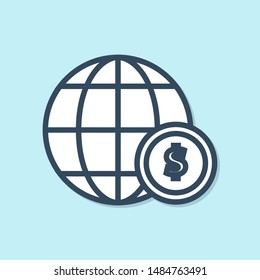 Blue line Earth globe with dollar symbol icon isolated on blue background. World or Earth sign. Global internet symbol. Geometric shapes.  Vector Illustration