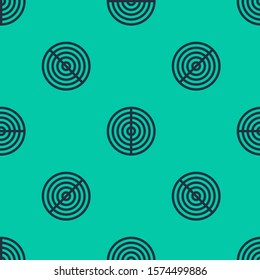 Blue line Earth structure icon isolated seamless pattern on green background. Geophysics concept with earth core and section layers earth.  Vector Illustration