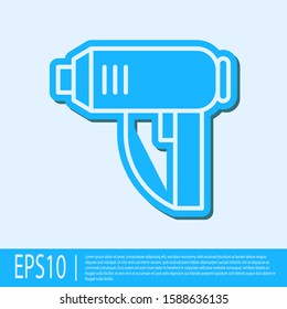 Blue line Electric industrial dryer icon isolated on grey background. Vector Illustration