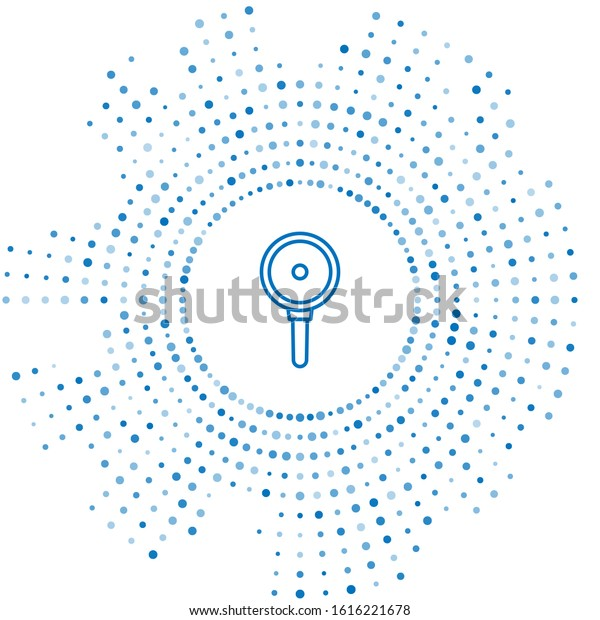 Blue line Frying pan icon isolated on white background. Fry or roast food symbol. Abstract circle random dots. Vector Illustration