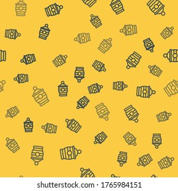 Blue line Funeral urn icon isolated seamless pattern on yellow background. Cremation and burial containers, columbarium vases, jars and pots with ashes.  Vector