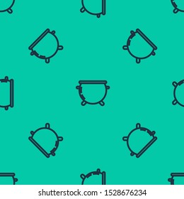 Blue line Halloween witch cauldron icon isolated seamless pattern on green background. Happy Halloween party.  Vector Illustration