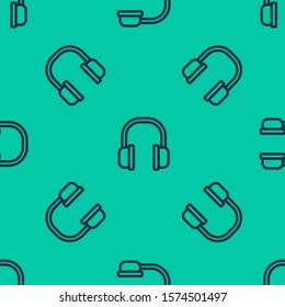 Blue line Headphones icon isolated seamless pattern on green background. Earphones sign. Concept for listening to music, service, communication and operator.  Vector Illustration