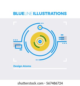 Blue line illustration concept of atomic design and particles collision moment. Premium quality flat line image. Detailed line icon graphic elements with overlay and multiply color forms.