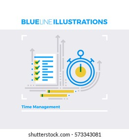 Blue line illustration concept of time management process, deadline and execution term. Premium quality flat line image. Detailed line icon graphic elements with overlay and multiply color forms.