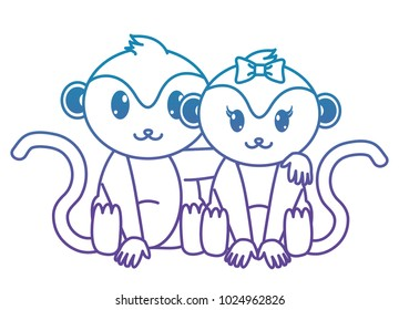 blue line monkey couple cute animal together