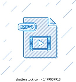 Blue line MP4 file document. Download mp4 button icon isolated on white background. MP4 file symbol.  Vector Illustration