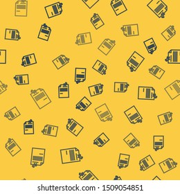 Blue line Note paper with pinned pushbutton icon isolated seamless pattern on yellow background. Memo paper sign.  Vector Illustration