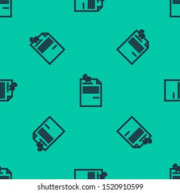 Blue line Note paper with pinned pushbutton icon isolated seamless pattern on green background. Memo paper sign.  Vector Illustration