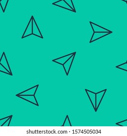 Blue line Paper airplane icon isolated seamless pattern on green background.  Vector Illustration