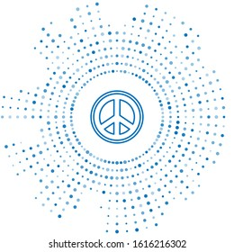 Blue line Peace icon isolated on white background. Hippie symbol of peace. Abstract circle random dots. Vector Illustration