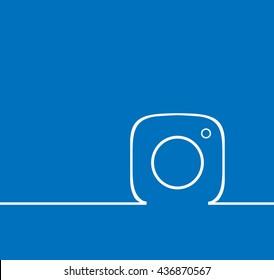 Blue  Line Photo Camera  background Vector Logo, JPG, JPEG, EPS. Icon Button.instagram Flat Social Media Sign