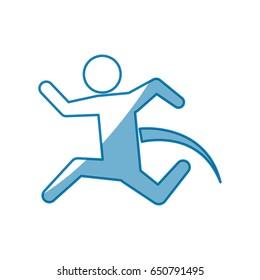 blue line pictogram man jumping up concept