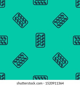 Blue line Pills in blister pack icon isolated seamless pattern on green background. Medical drug package for tablet: vitamin, antibiotic, aspirin.  Vector Illustration