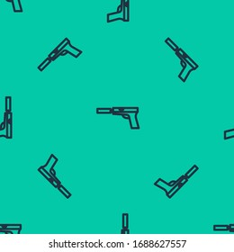 Blue line Pistol or gun with silencer icon isolated seamless pattern on green background.  Vector Illustration