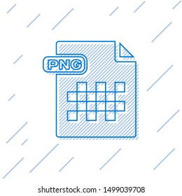 Blue line PNG file document. Download png button icon isolated on white background. PNG file symbol.  Vector Illustration