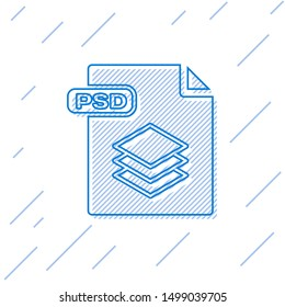 Blue line PSD file document. Download psd button icon isolated on white background. PSD file symbol.  Vector Illustration