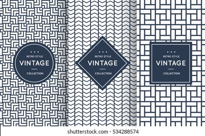 Blue line seamless pattern background. Vector illustration for elegant design. Abstract geometric photo frame. Stylish decorative bright label set. Fashion universal pattern.